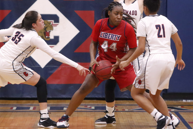 Liberty junior Dre'una Edwards (44) looks for a shot during a basketball game on Tuesday, Jan. 24, 2017, in Henderson, Nevada. (Christian K. Lee/Las Vegas Review-Journal) @chrisklee_jpeg