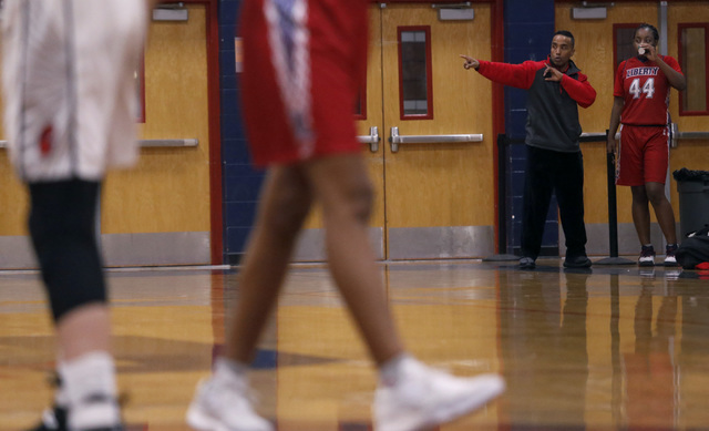 Liberty junior Dre'una Edwards (44) listens to a coach during a basketball game on Tuesday, Jan. 24, 2017, in Henderson, Nevada. (Christian K. Lee/Las Vegas Review-Journal) @chrisklee_jpeg