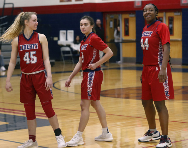 Liberty junior Dre'una Edwards (44) smiles during a basketball game on Tuesday, Jan. 24, 2017, in Henderson, Nevada. (Christian K. Lee/Las Vegas Review-Journal) @chrisklee_jpeg