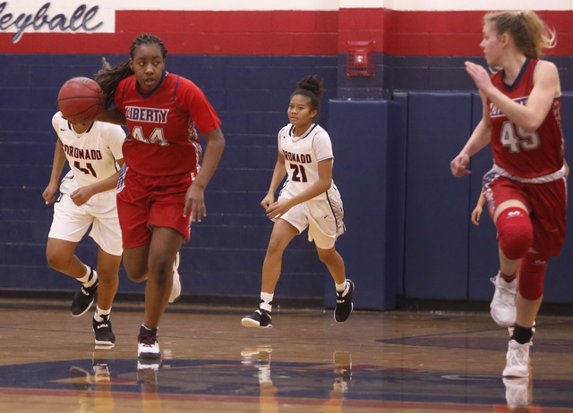 Liberty junior Dre'una Edwards (44) drives down the court during a basketball game on Tuesday, Jan. 24, 2017, in Henderson, Nevada. (Christian K. Lee/Las Vegas Review-Journal) @chrisklee_jpeg