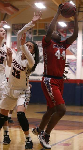 Liberty junior Dre'una Edwards (44) grabs a rebound during a basketball game on Tuesday, Jan. 24, 2017, in Henderson, Nevada. (Christian K. Lee/Las Vegas Review-Journal) @chrisklee_jpeg