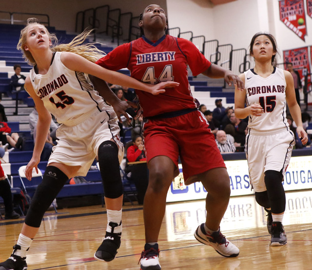 Liberty junior Dre'una Edwards (44) prepares to grab a rebound during a basketball game on Tuesday, Jan. 24, 2017, in Henderson, Nevada. (Christian K. Lee/Las Vegas Review-Journal) @chrisklee_jpeg