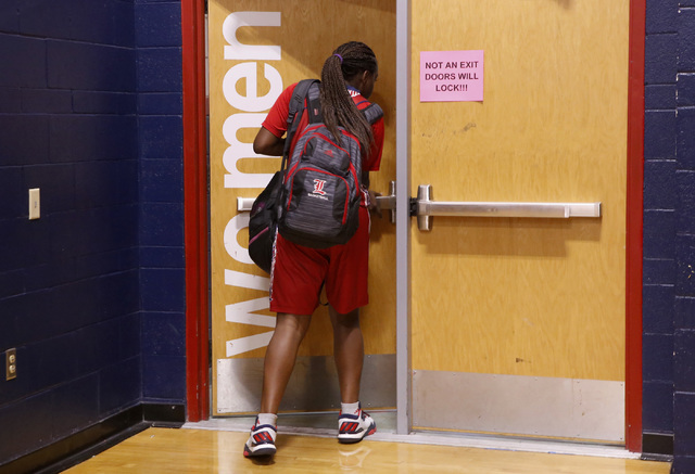 Liberty junior Dre'una Edwards (44) walks into the locker room after a basketball game on Tuesday, Jan. 24, 2017, in Henderson, Nevada. (Christian K. Lee/Las Vegas Review-Journal) @chrisklee_jpeg