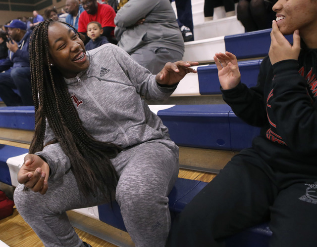 Liberty junior Dre'una Edwards laughs with a teammate during a basketball game on Tuesday, Jan. 24, 2017, in Henderson, Nevada. (Christian K. Lee/Las Vegas Review-Journal) @chrisklee_jpeg