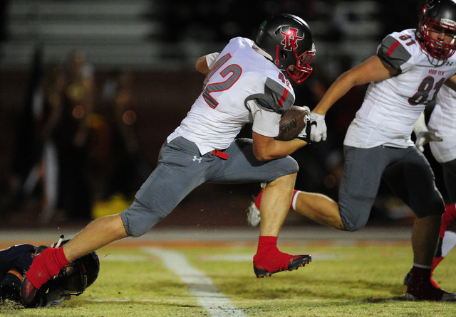 Arbor View fullback Andrew Wagner scores a touchdown against Legacy in the first half of their prep football game against at Legacy High School in Las Vegas, Thursday, Oct. 20, 2016. (Josh Holmber ...
