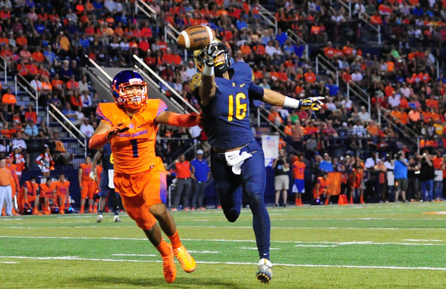 St. Thomas Aguinas, Fla. wide receiver Trevon Grimes (16) is unable to catch a pass as Bishop Gorman safety Greg Francis defends in the first half of their prep football game at Bishop Gorman High ...