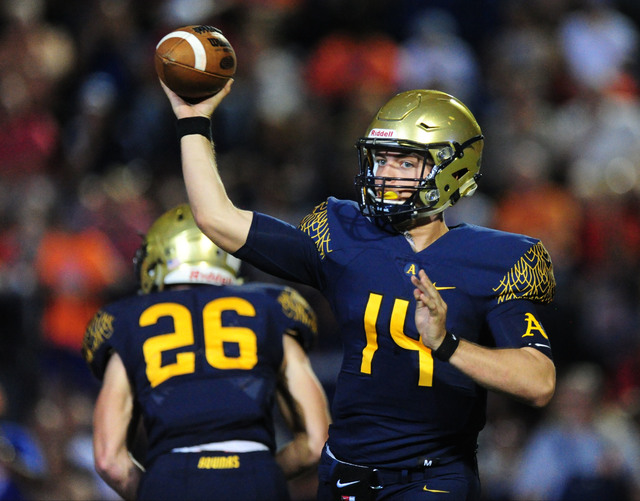 St. Thomas Aguinas, Fla.  quarterback and Florida commit Jake Allen passes against Bishop Gorman in the first half of their prep football game at Bishop Gorman High School in Las Vegas Friday, Sep ...