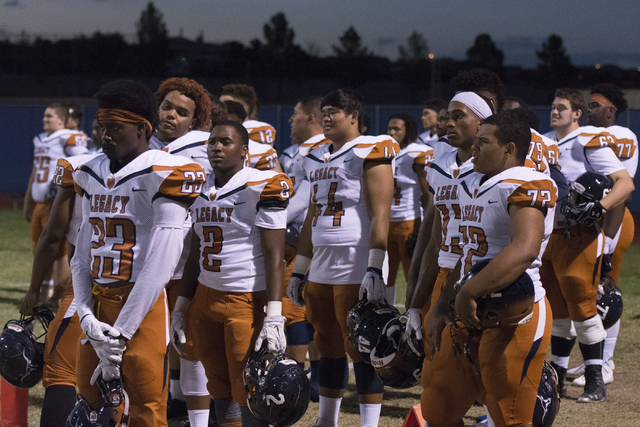 "Legacy players line up for ""The Star-Spangled Banner"" during a football game at Centennial in Las Vegas, Friday, Sept. 30, 2016. Jason Ogulnik/Las Vegas Review-Journal"