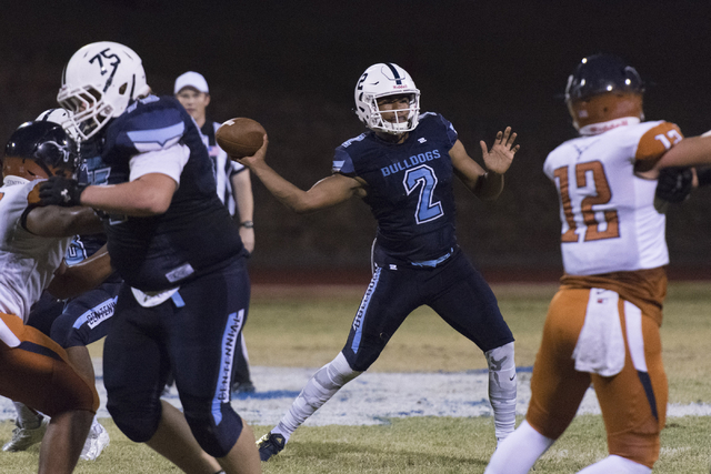 Centennial's Jamaal Evans (2) throws the ball during a football game against Legacy at Centennial in Las Vegas, Friday, Sept. 30, 2016. Jason Ogulnik/Las Vegas Review-Journal