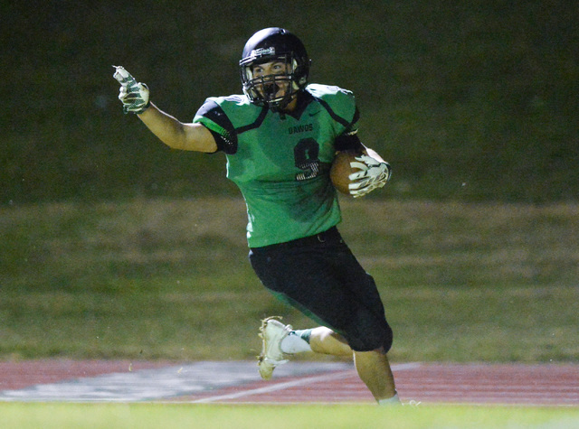Virgin Valley receiver Jesus Ruvalcaba (9) scores a touchdown during the Virgin Valley High School Chaparral High School High School game at Virgin Valley High School in Mesquite, Nev., on Friday, ...