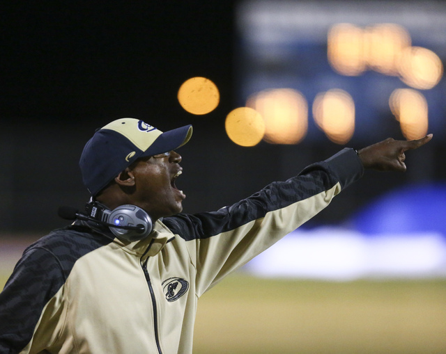 A Cheyenne coach shouts to his team as they take on Chaparral during a football game at Cheyenne High School in Las Vegas on Thursday, Oct. 27, 2016. Chase Stevens/Las Vegas Review-Journal Follow  ...