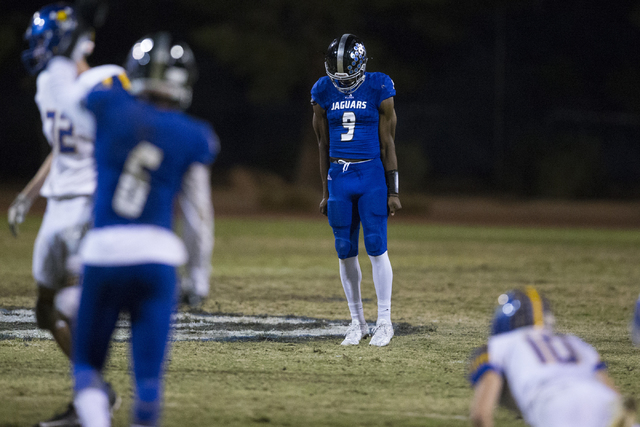 Desert Pines quarterback Randal Grimes (9) reacts after an incomplete pass in their state quarterfinal football game against Moapa Valley at Desert Pines High School on Friday, Nov. 4, 2016, in La ...