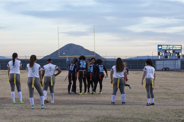 Centennial flag football team huddles before a play against Cimarron-Memorial at Centennial High School on Thursday, Feb. 9, 2017, in Las Vegas. (Bridget Bennett/Las Vegas Review-Journal) @bridget ...