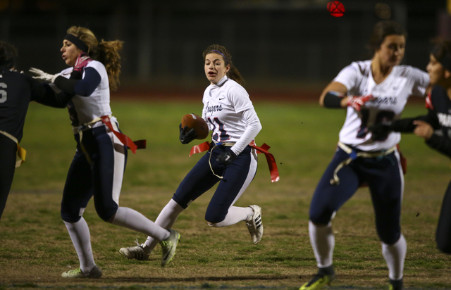 Coronado's Trinity Rhoades (11) runs the ball during the Class 4A state championship flag football game at Cimarron-Memorial High School on Wednesday, Feb. 22, 2017. Cimarron-Memorial won 24-7. (C ...