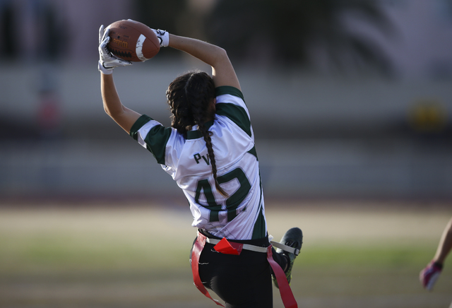 Palo Verde's Gianni Terrana (42) catches a pass during the Sunset Region flag football championship game against Cimarron-Memorial at Green Valley High School in Henderson on Tuesday, Feb. 21, 201 ...