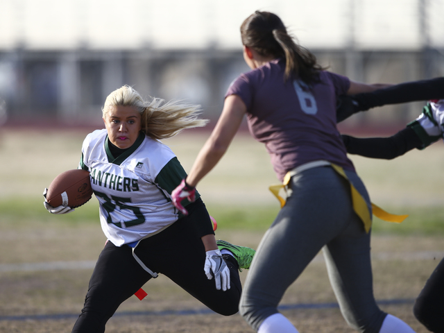 Palo Verde's Amanda Drake (25) runs the ball against Cimarron-Memorial during the Sunset Region flag football championship game at Green Valley High School in Henderson on Tuesday, Feb. 21, 2017.  ...