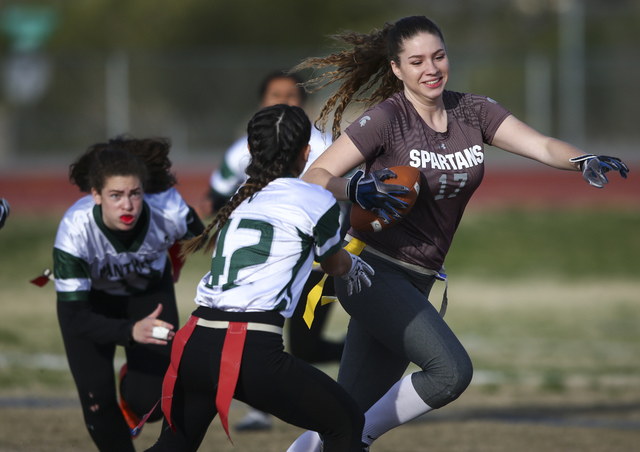 Cimarron-Memorial's Alyssa Karpinski (17) runs the ball against Palo Verde during the Sunset Region flag football championship game at Green Valley High School in Henderson on Tuesday, Feb. 21, 20 ...