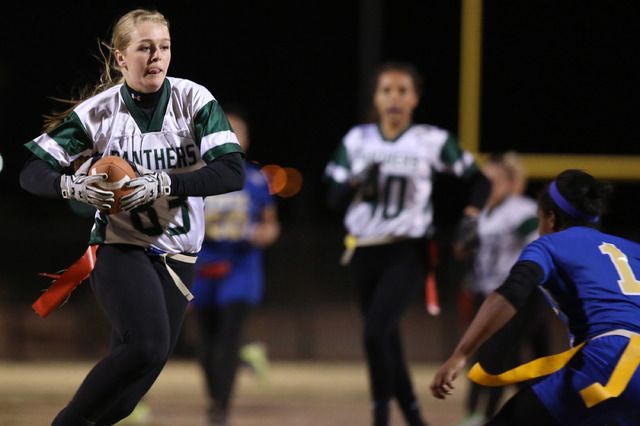 Palo Verde senior Allyson Snelling runs the ball to the end zone to score a touchdown during a game at Sierra Vista High School on Thursday, Feb. 16, 2017, in Las Vegas. Palo Verde defeated Sierra ...