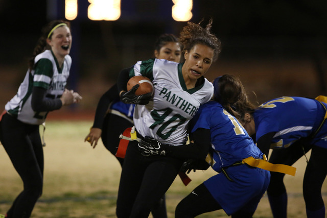 Palo Verde sophomore Mya Boykin runs the ball during a game at Sierra Vista High School on Thursday, Feb. 16, 2017, in Las Vegas. Palo Verde defeated Sierra Vista 26-19. (Bridget Bennett/Las Vegas ...