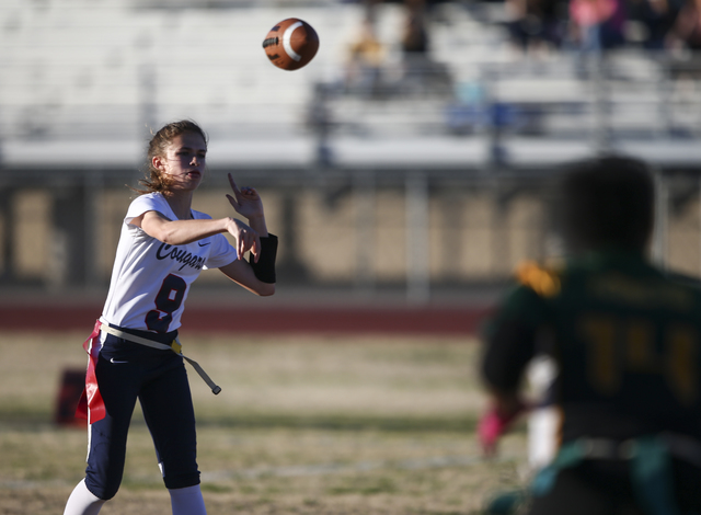 Coronado's Caitlin Shannon (9) passes the ball during a flag football game against Rancho at Green Valley High School in Henderson on Tuesday, Feb. 14, 2017. Coronado won 41-6. (Chase Stevens/Las  ...