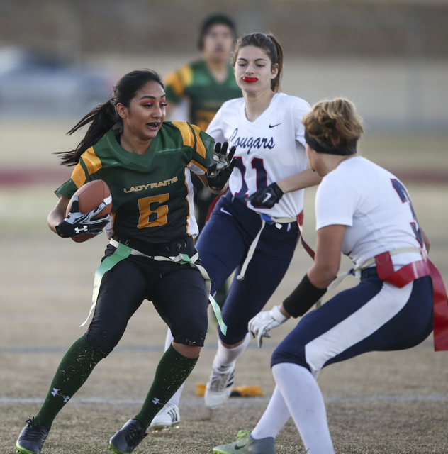 Rancho's Christina Parada (6) runs the ball against Coronado during a flag football game at Green Valley High School in Henderson on Tuesday, Feb. 14, 2017. Coronado won 41-6. (Chase Stevens/Las V ...