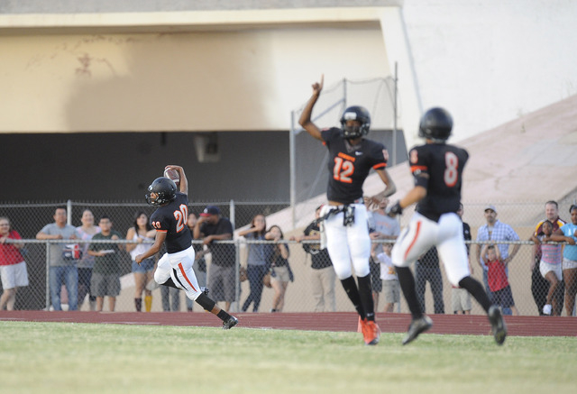 Chaparral kick returner Richard Nelson returns a kickoff 92 yards for a touchdown against Eldorado on Friday. (Josh Holmberg/Las Vegas Review Journal)
