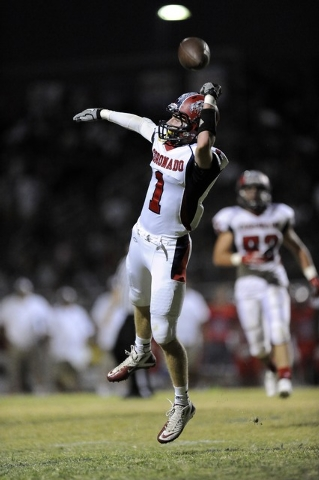 Coronado safety Koy Harris nearly intercepts a pass in the second quarter on Friday. Harris did pick off a pass, and returned it 81 yards for a touchdown with 54 seconds left in the first half. (J ...