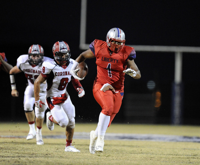 Liberty tight end Noah Jefferson picks up a first down against Coronado in the first quarter on Friday. (Josh Holmberg/Las Vegas Review-Journal)