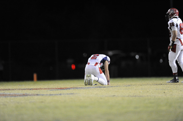 Coronado kicker Spencer Cofer (13) reacts after his game-winning field goal attempt missed as time expired on Friday. Liberty held on for a 14-13 win. (Josh Holmberg/Las Vegas Review Journal)