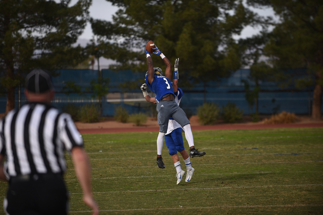 Desert Pines Antonio Wallace (3) attempts a catch against South Tahoe during their 3A state semifinal football game played at the Desert Pines football field in Las Vegas on Saturday, Nov. 12, 201 ...