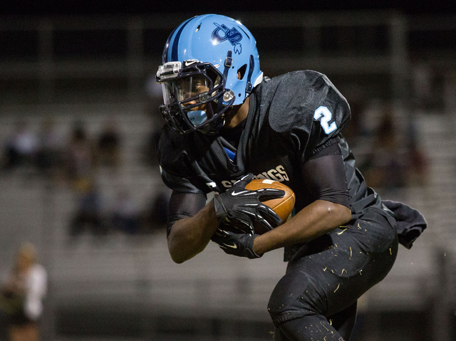 Canyon Springs' Zaviontay Stevenson, runs the ball in the first half against Foothill. Stevenson has rushed for 495 yards and six TDs for the Pioneers. (Samantha Clemens-Kerbs/Las Vegas Review-Jou ...