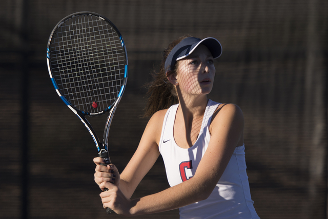 Coronado's Hannah Grossman plays a tennis game against Green Valley's Daria Shalina during the Sunrise Region girls singles finals at Darling Tennis Center in Las Vegas, Saturday, Oct. 15, 2016. J ...