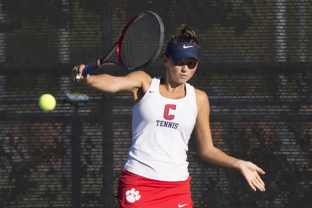 Coronado's Nikoleta Nikoloff plays a tennis game against Coronado's Megan King during the Sunrise Region girls singles finals at Darling Tennis Center in Las Vegas, Saturday, Oct. 15, 2016. Jason  ...