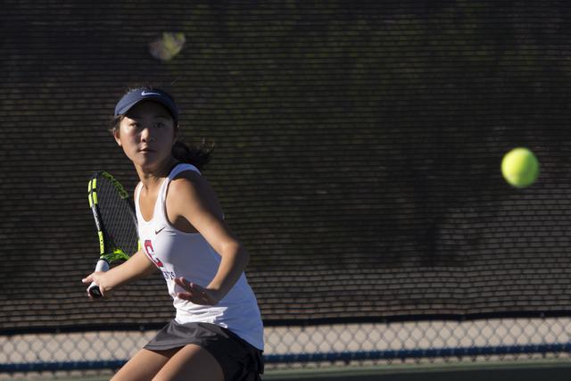 Coronado's Megan King plays a tennis game against Coronado's Nikoleta Nikoloff during the Sunrise Region girls singles finals at Darling Tennis Center in Las Vegas, Saturday, Oct. 15, 2016. Jason  ...