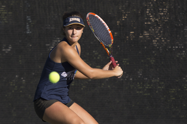 Green Valley's Daria Shalina plays a tennis game against Coronado's Hannah Grossman during the Sunrise Region girls singles finals at Darling Tennis Center in Las Vegas, Saturday, Oct. 15, 2016. J ...