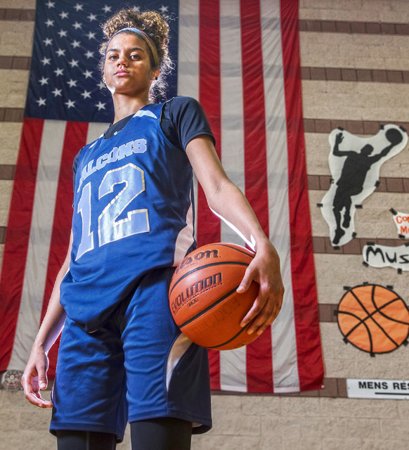 Foothill junior Rae Burrell at Mannion Middle School on Monday, Feb. 20, 2017, in Henderson. Burrell is poised to lead the Falcons into the Class 4A state girls basketball tournament. (Benjamin Ha ...