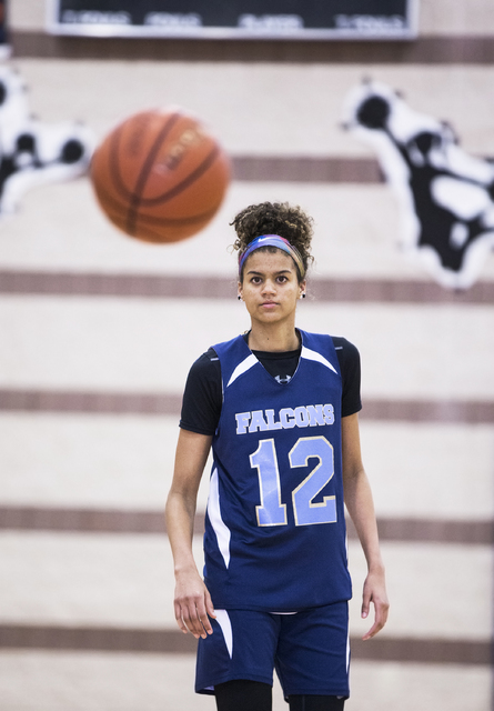 Foothill junior Rae Burrell participates in shoot around at Mannion Middle School on Monday, Feb. 20, 2017, in Henderson. Burrell is poised to lead the Falcons into the Class 4A state girls basket ...