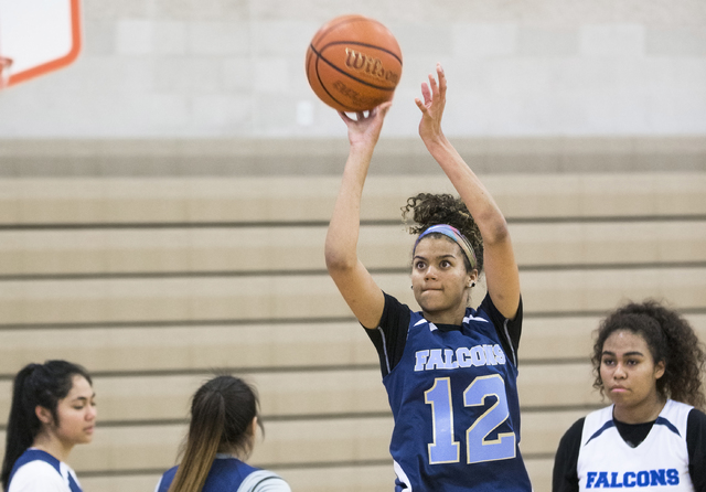 Foothill junior Rae Burrell (12)  shoots a three point shot during practice at Mannion Middle School on Monday, Feb. 20, 2017, in Henderson. Burrell is poised to lead the Falcons into the Class 4A ...