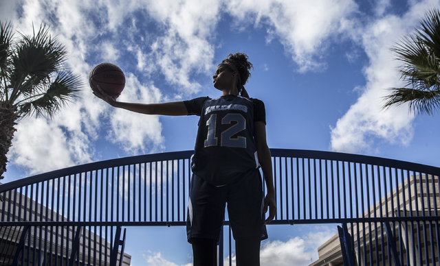 Foothill junior Rae Burrell is poised to lead the Falcons into the Class 4A state girls basketball tournament. Photo taken at Mannion Middle School on Monday, Feb. 20, 2017, in Henderson. (Benjami ...