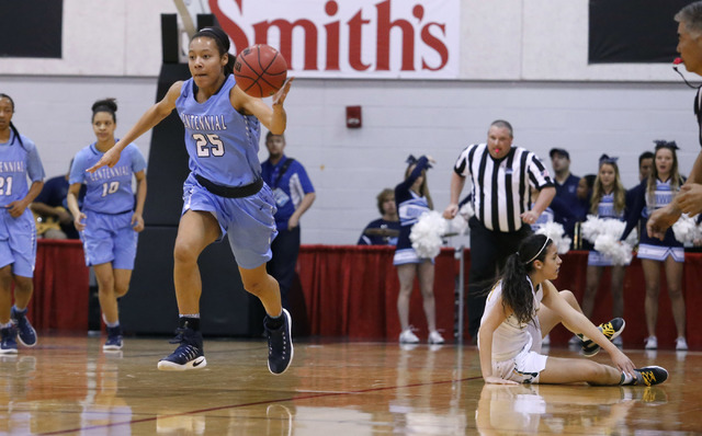 Centennial's Samantha Thomas (25) recovers a loose ball during the first half of a Class 4A girls state final game at the Cox Pavillion on Friday, Feb. 24, 2017, in Las Vegas. (Christian K. Lee/La ...