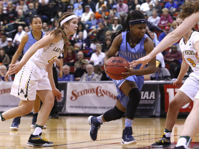 Centennial's Pam Wilmore (1) dribbles during the second half of a Class 4A girls state final game at the Cox Pavillion on Friday, Feb. 24, 2017, in Las Vegas. Centennial won 97-52. (Christian K. L ...