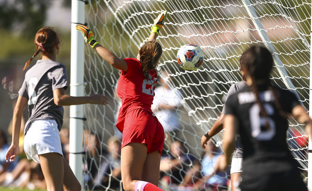 Arbor View's Haylee Niemann (22) misses a goal allowing a point for Palo Verde during the Sunset Region girls soccer championship game at Bettye Wilson Soccer Complex in Las Vegas on Saturday, Nov ...