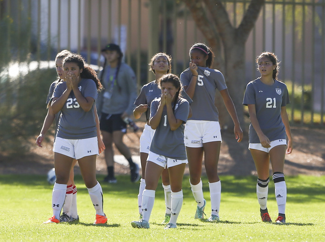 Arbor View players react after losing to Palo Verde during the Sunset Region girls soccer championship game at Bettye Wilson Soccer Complex in Las Vegas on Saturday, Nov. 5, 2016. Palo Verde won 3 ...