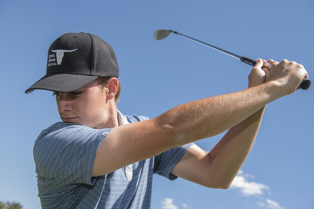 Shadow Ridge High School senior golfer Tanner Johnson poses for a portrait at the Desert Golf Club in Las Vegas on Monday, May 9, 2016. Martin S. Fuentes/Las Vegas Review-Journal