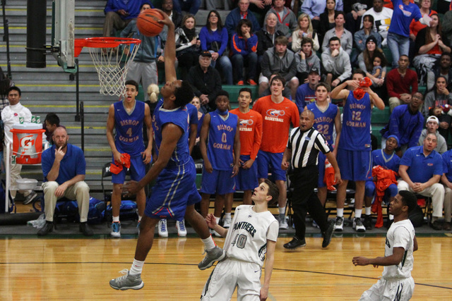 Bishop Gorman forward Deon Whiteside puts down a breakaway dunk to finish their game against Palo Verde Thursday. Gorman won the game 88-63. (Sam Morris/Las Vegas Review-Journal)