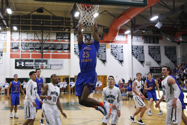 Bishop Gorman forward Nick Blair dunks on Palo Verde on Thursday. Blair scored 14 points in an 88-63 Gorman win. (Sam Morris/Las Vegas Review-Journal)