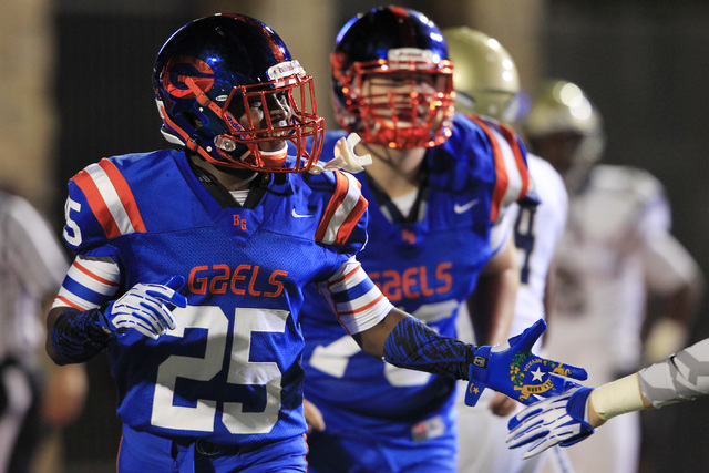 Bishop Gorman wide receiver Tyjon Lindsey celebrates a touchdown in the Gaels' 34-31 win over St. John Bosco on Friday. Lindsey caught three passes for 83 yards and a score.  (Sam Morris/Las Vegas ...