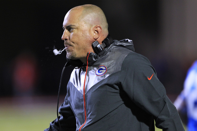 Bishop Gorman head coach Tony Sanchez watches the action during their game against St. John Bosco on Friday. Gorman won the game 34-31. (Sam Morris/Las Vegas Review-Journal)