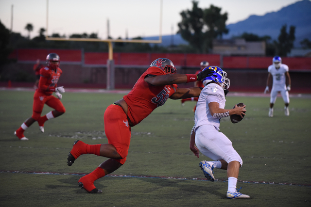 Arbor View's Greg Rogers (56) tackles an Orem player during their football game played at Arbor View's football field in Las Vegas on Friday, Sept. 2, 2016. Martin S. Fuentes/Las Vegas Review-Journal