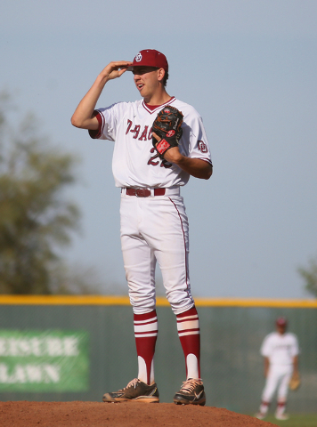 Desert Oasis senior Nolan Kingham stands on the pitcher's mound during a game against Cimarron-Memorial at Desert Oasis High School Monday, March 23, 2015, in Las Vegas. Kingham has committed to p ...